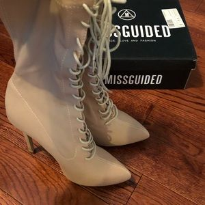 Missguided Shoes - Missguided Nude Corset Laced Up Pointed Boots